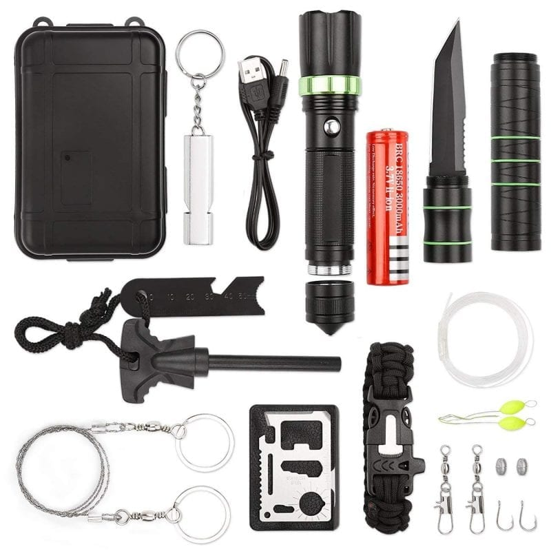 Survival gear kits for hiking biking camping adventures hunting